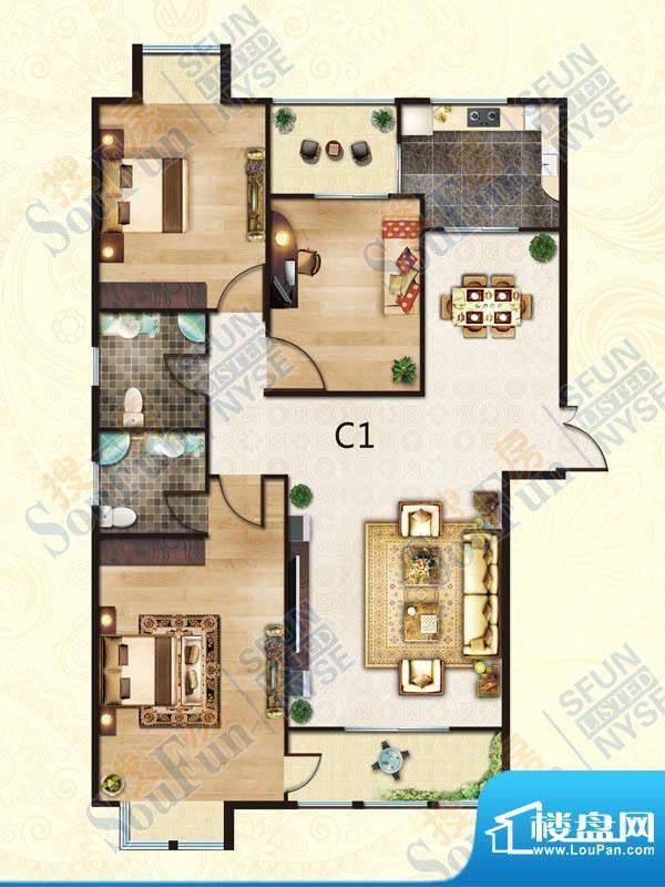 豪庭御都C1户型 3室面积:126.00m平米