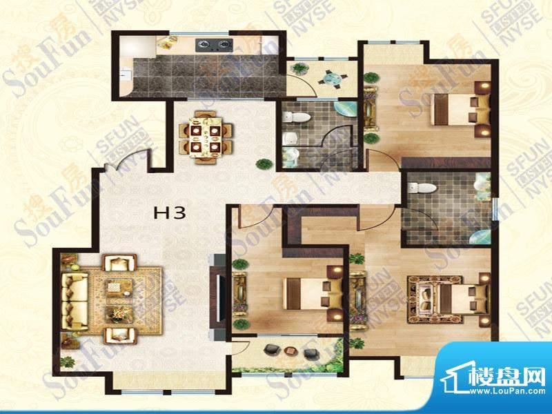 豪庭御都H3户型 3室面积:153.00m平米