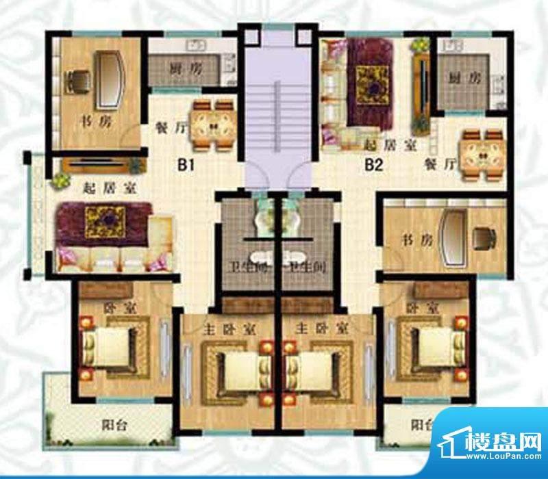 如意花园B户型 3室2面积:124.40m平米