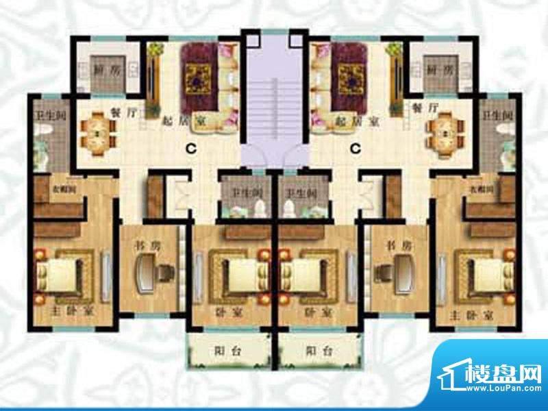如意花园C户型 3室2面积:134.78m平米