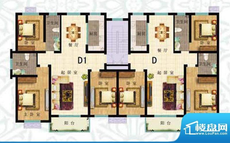 如意花园D户型 3室2面积:139.13m平米