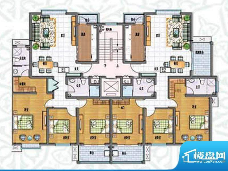 如意花园E户型 3室2面积:143.96m平米