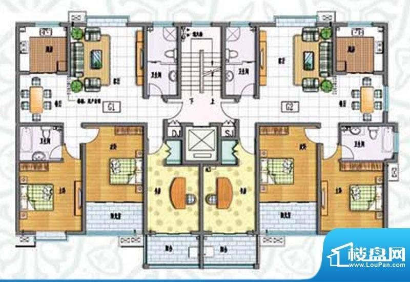如意花园G户型 3室2面积:143.64m平米