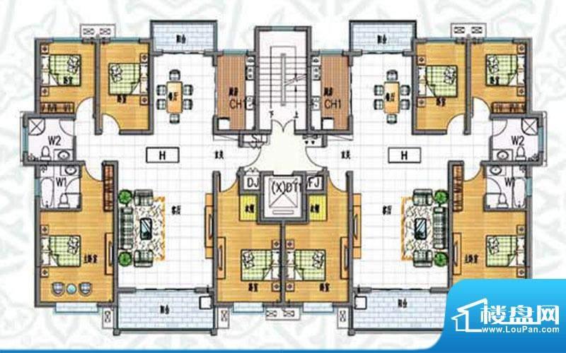 如意花园H户型 4室2面积:174.83m平米