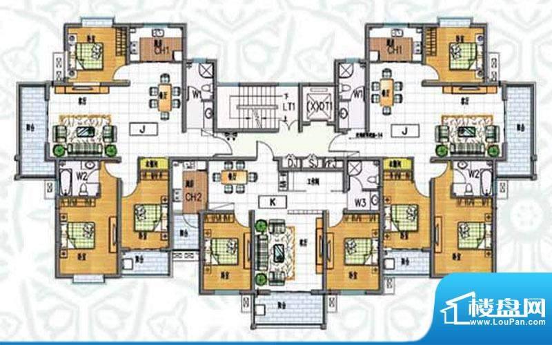 如意花园J户型 3室2面积:136.93m平米