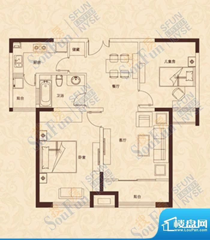 爱家豪庭C户型 2室2面积:96.00m平米
