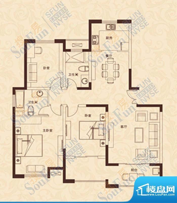 爱家豪庭D户型 3室2面积:143.00m平米