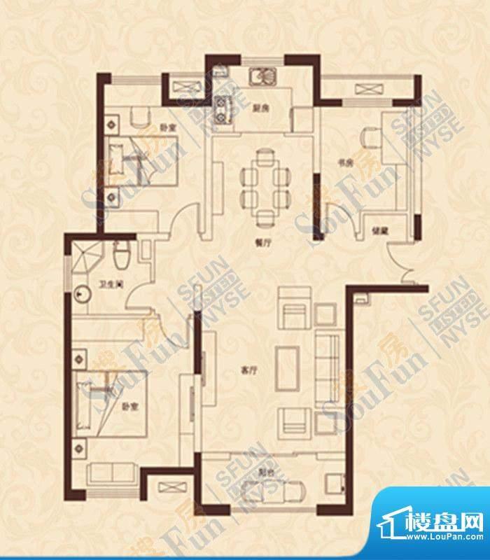 爱家豪庭E户型 3室2面积:114.00m平米