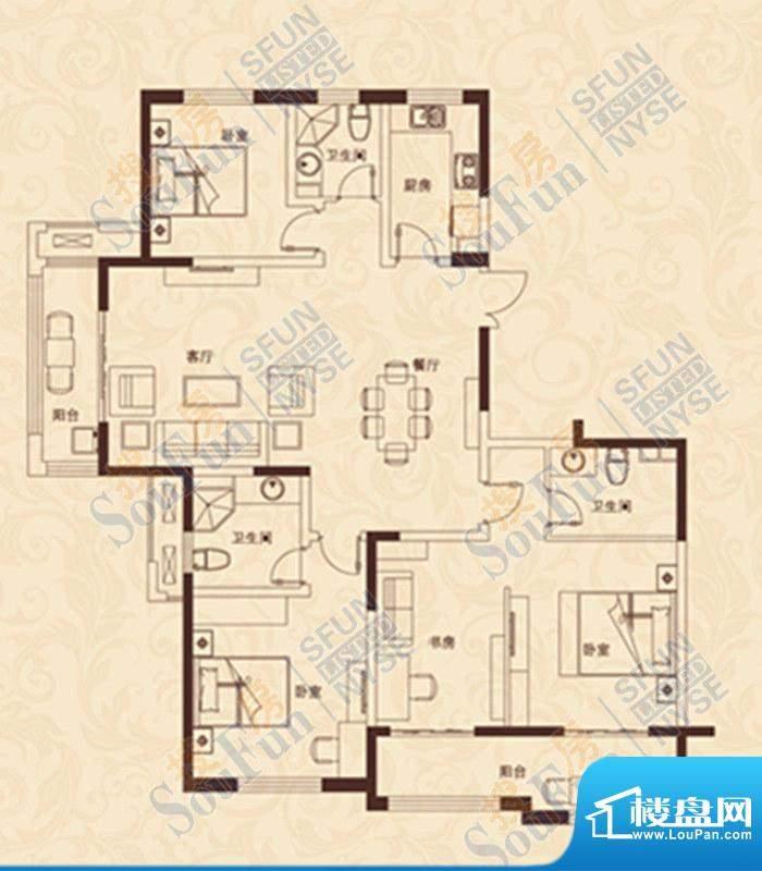 爱家豪庭F户型 4室2面积:180.00m平米