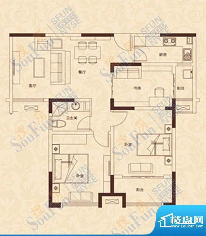 爱家豪庭B户型 3室3面积:106.00m平米