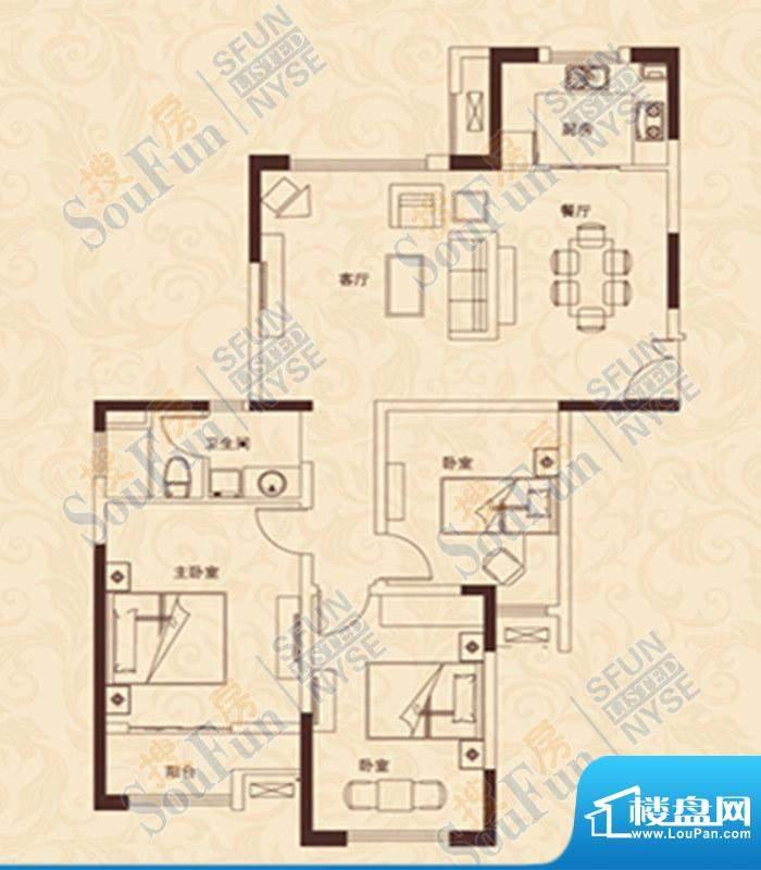 爱家豪庭A户型 3室2面积:122.00m平米