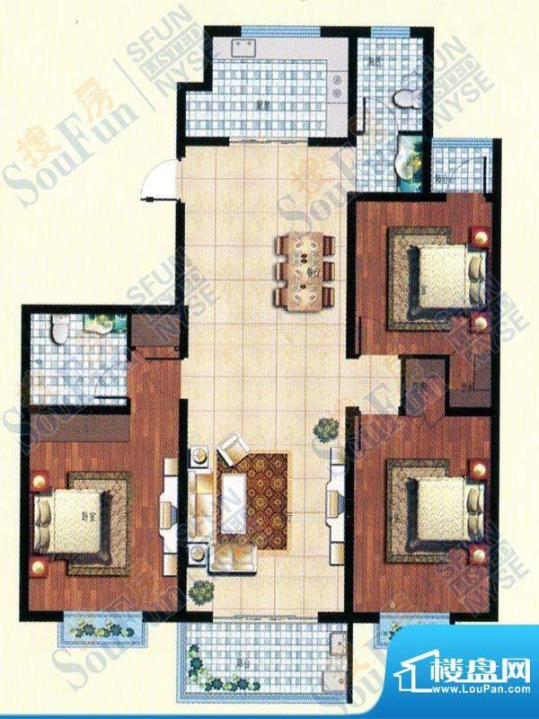 北城国际三室两厅两面积:139.00m平米
