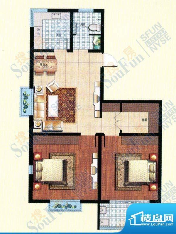 北城国际两室两厅一面积:103.00m平米