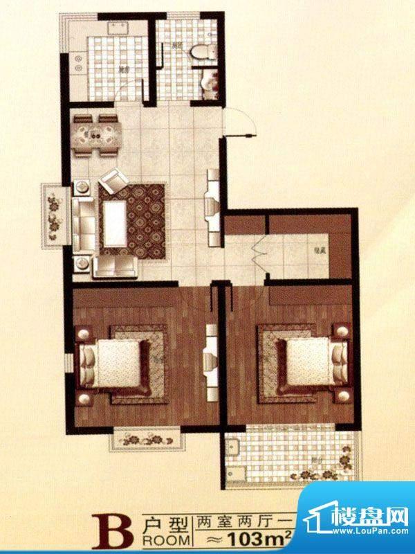 北城国际户型图 2室面积:103.00m平米
