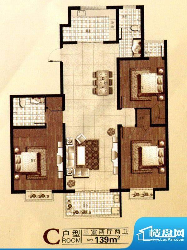 北城国际户型图 3室面积:139.00m平米