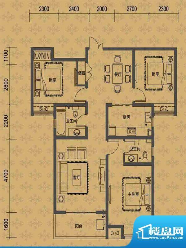 华勤紫金城高层M户型面积:126.00m平米