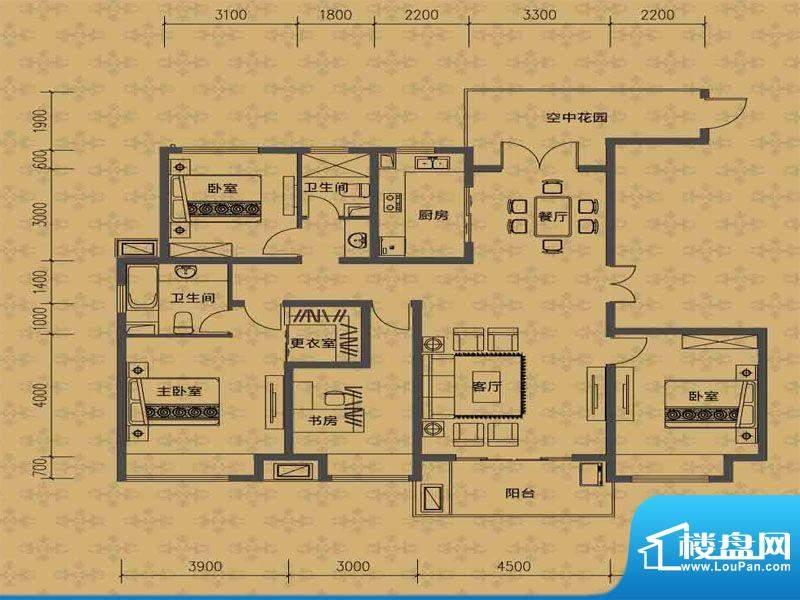 华勤紫金城高层N户型面积:169.00m平米