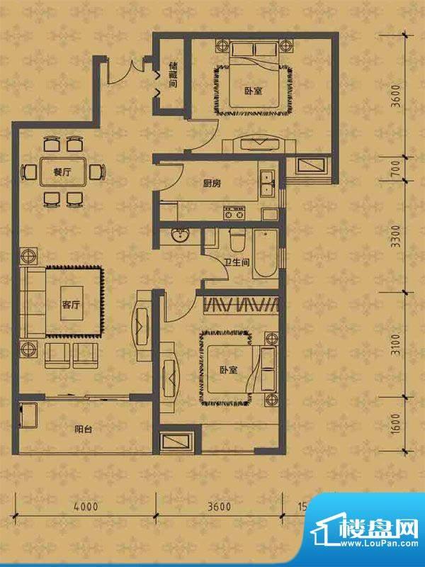 华勤紫金城高层B户型面积:103.00m平米