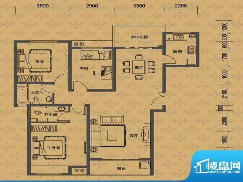 华勤紫金城高层D户型面积:134.00m平米