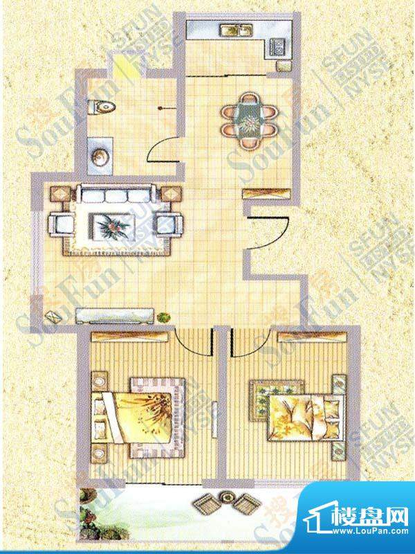 中泰名城A2-1户型 2面积:105.00m平米