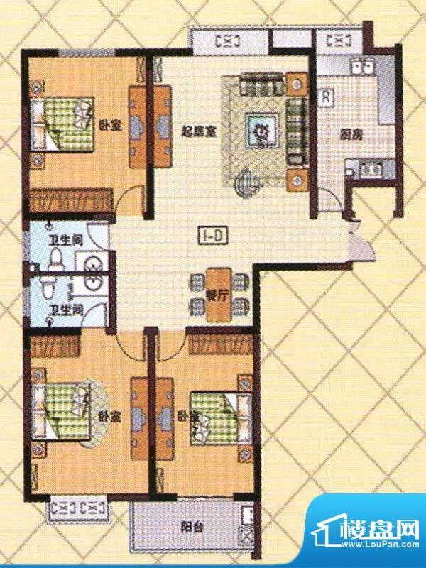 富邦新都D1户型 3室面积:140.00m平米