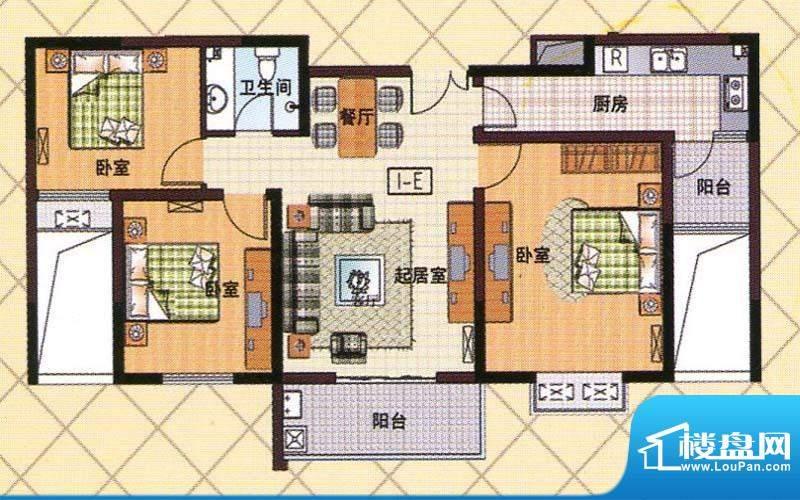 富邦新都E户型 3室2面积:101.00m平米