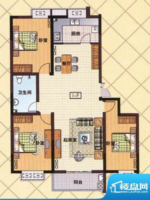富邦新都F1户型 3室面积:136.00m平米