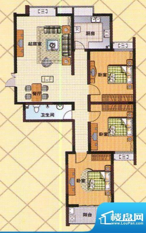 富邦新都F户型 3室2面积:130.00m平米