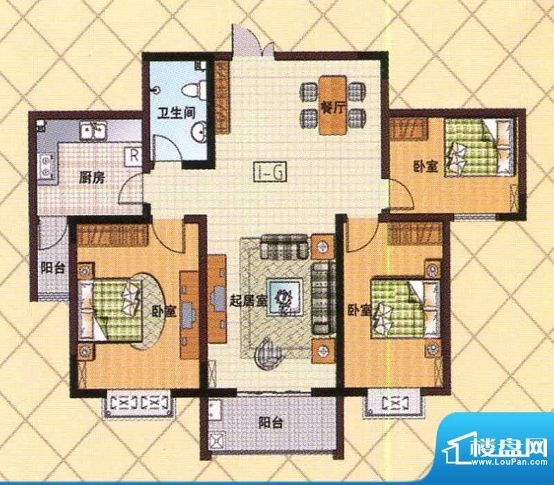 富邦新都G户型 3室2面积:115.00m平米
