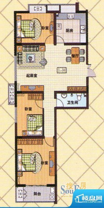 富邦新都H户型 3室2面积:113.00m平米