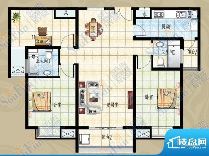 名鉴金地户型图 3室面积:128.96m平米