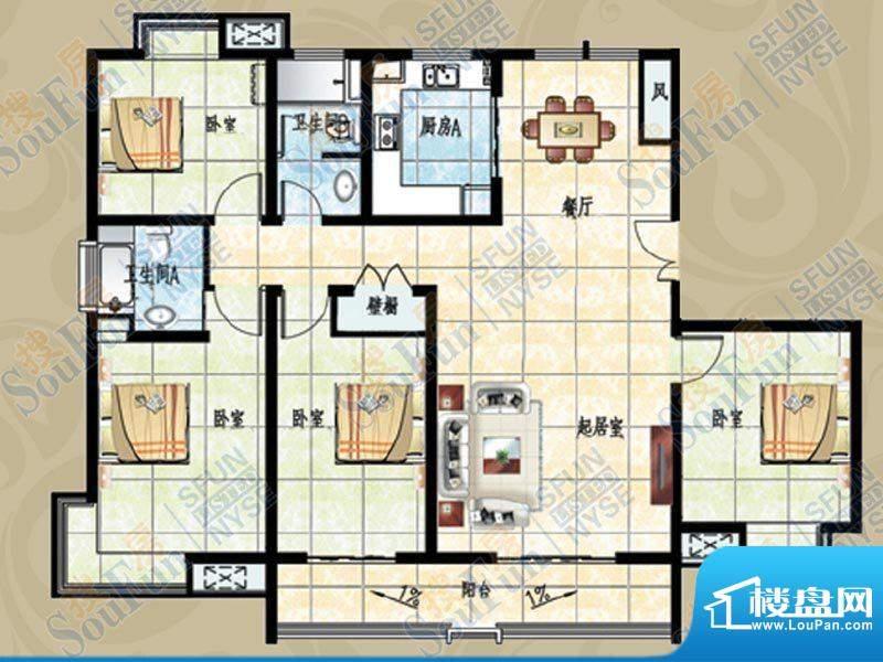 名鉴金地户型图 4室面积:189.39m平米