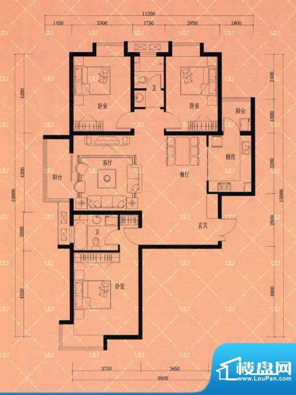 蓝天豪庭1#2#D2户型面积:145.00m平米