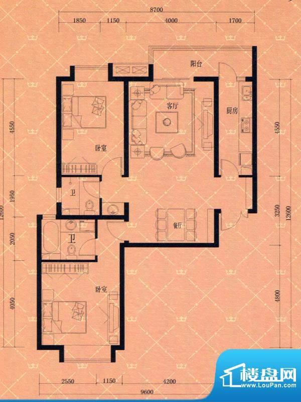 蓝天豪庭1#2#E2户型面积:113.00m平米
