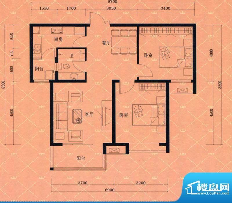 蓝天豪庭1#2#F2户型面积:94.00m平米