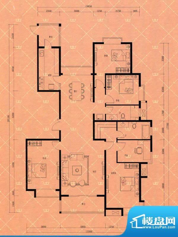 蓝天豪庭3#A户型 4室面积:220.00m平米