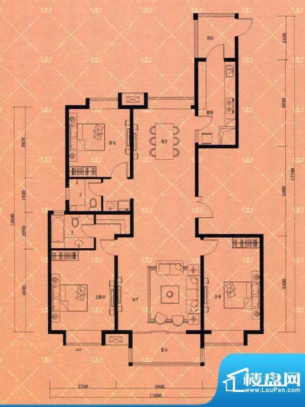 蓝天豪庭3#B2户型 3面积:173.00m平米