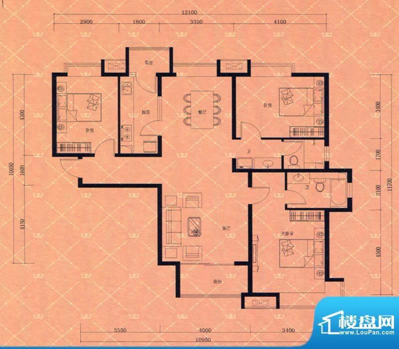 蓝天豪庭4#G1户型 3面积:145.00m平米