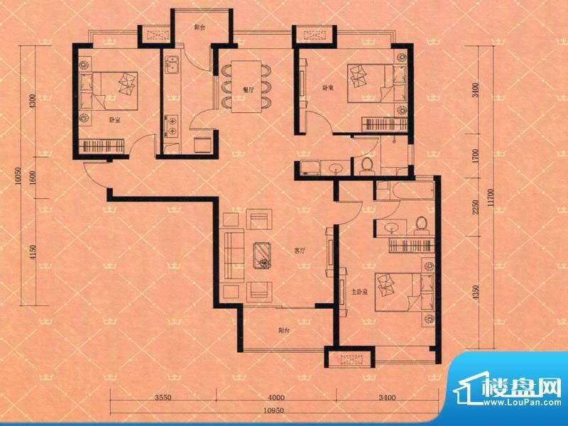 蓝天豪庭4#G3户型 3面积:136.00m平米