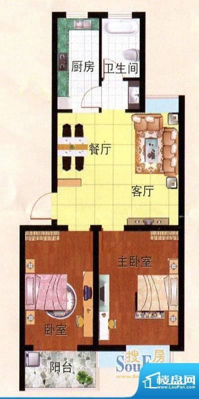 畅园小区A户型 2室2面积:77.05m平米