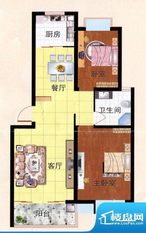 畅园小区B户型 2室2面积:85.83m平米