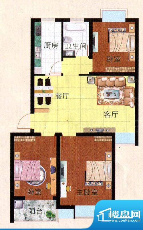 畅园小区C户型 3室2面积:93.43m平米