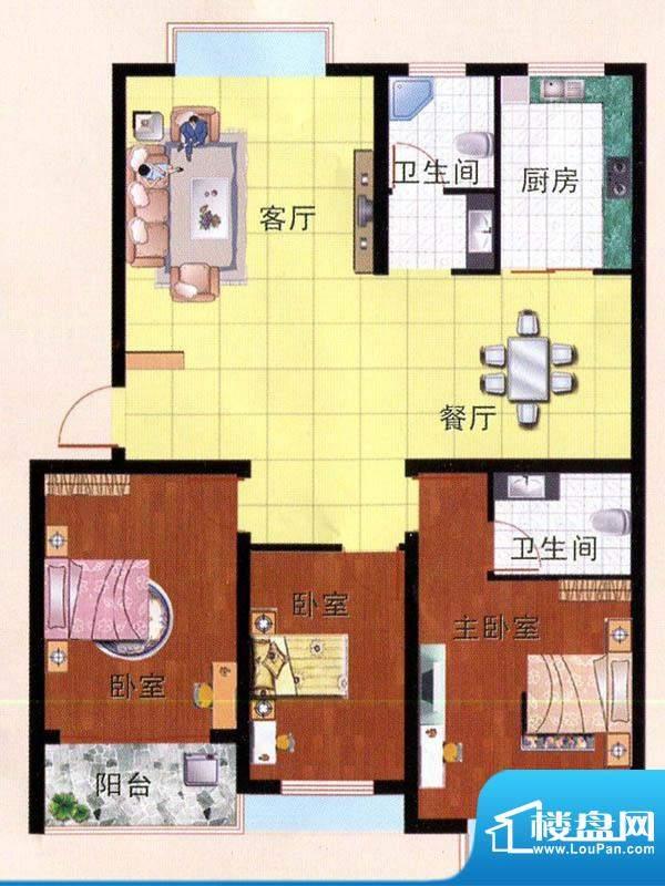 畅园小区F户型 3室2面积:117.38m平米