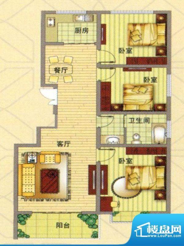 凤凰家园户型图 3室面积:106.00m平米