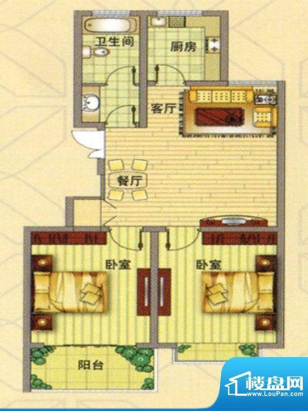 凤凰家园户型图 2室面积:85.00m平米