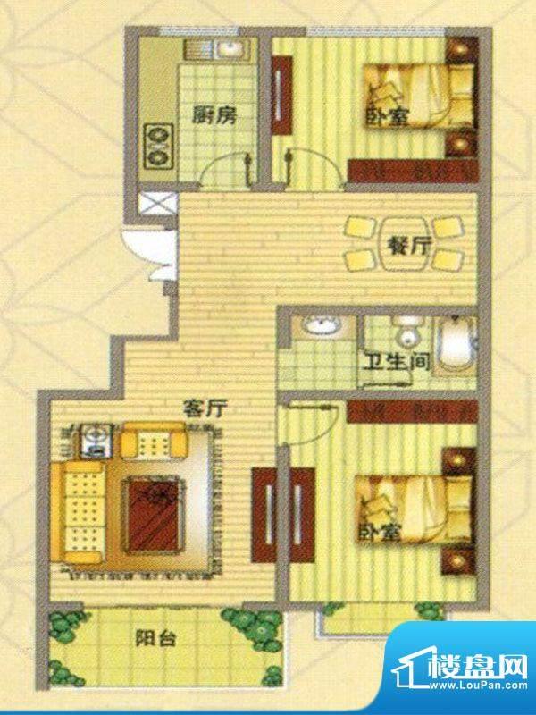 凤凰家园户型图 2室面积:84.00m平米