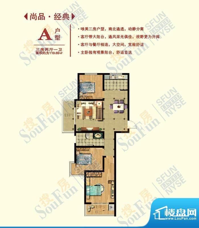 华任·尚品A户型 3室面积:119.69m平米