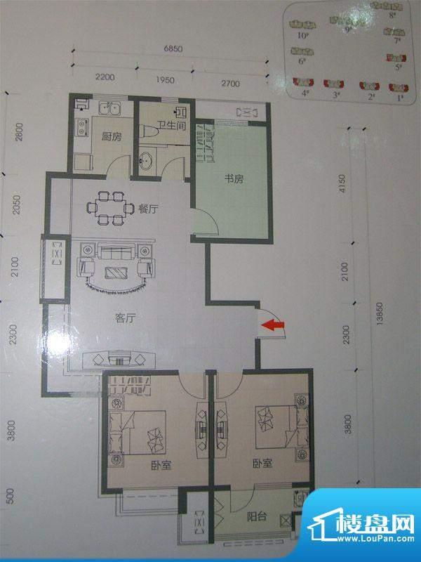 和谐家园100A户型 3面积:105.69m平米