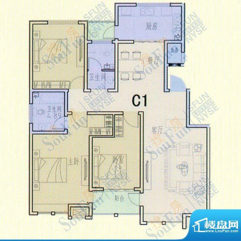 领秀庄园二期C户型 面积:128.00m平米
