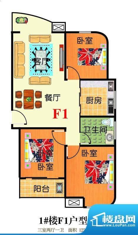三友翡翠城1#楼F1户面积:122.68平米